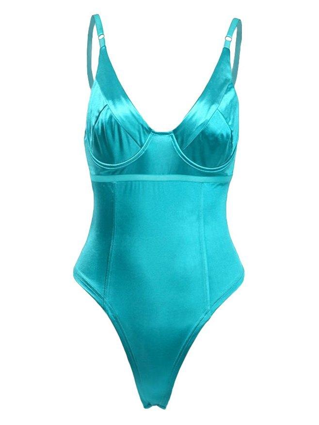 Spaghetti Strap V-Neck Bodysuit - Blue L