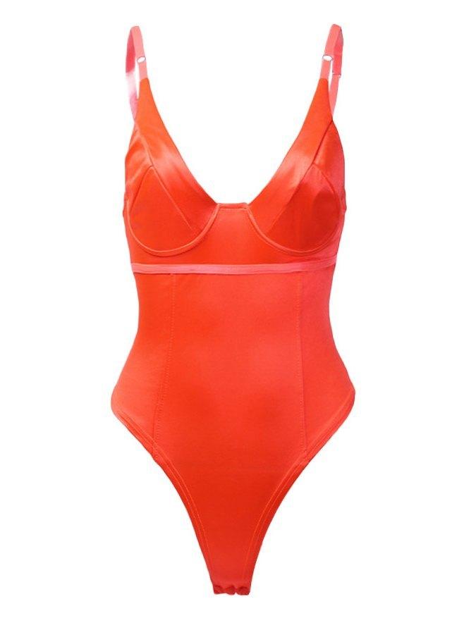 Spaghetti Strap V-Neck Bodysuit - Orange M