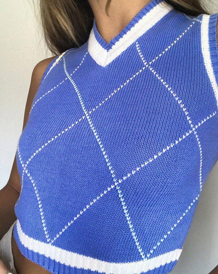Plaid Vintage Sweater Vest - Blue S