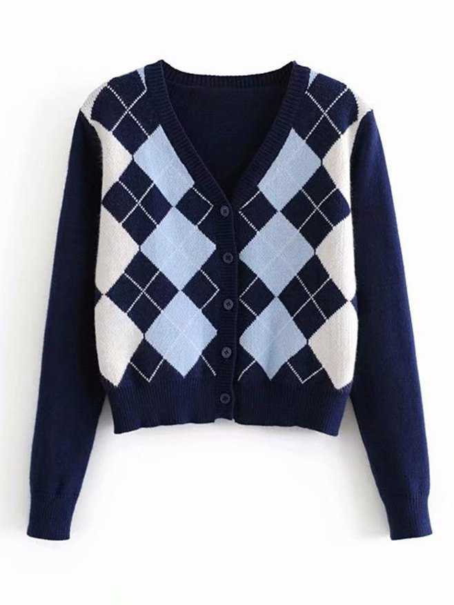 Plaid Knitted Cardigan - Blue S