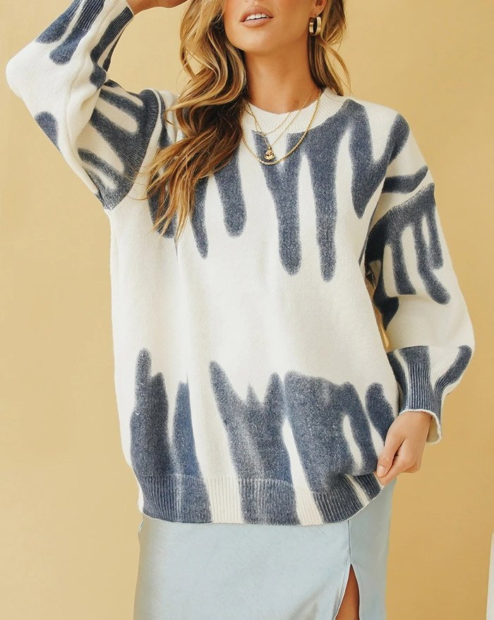 Spray Dye Pullover Sweater - Blue L