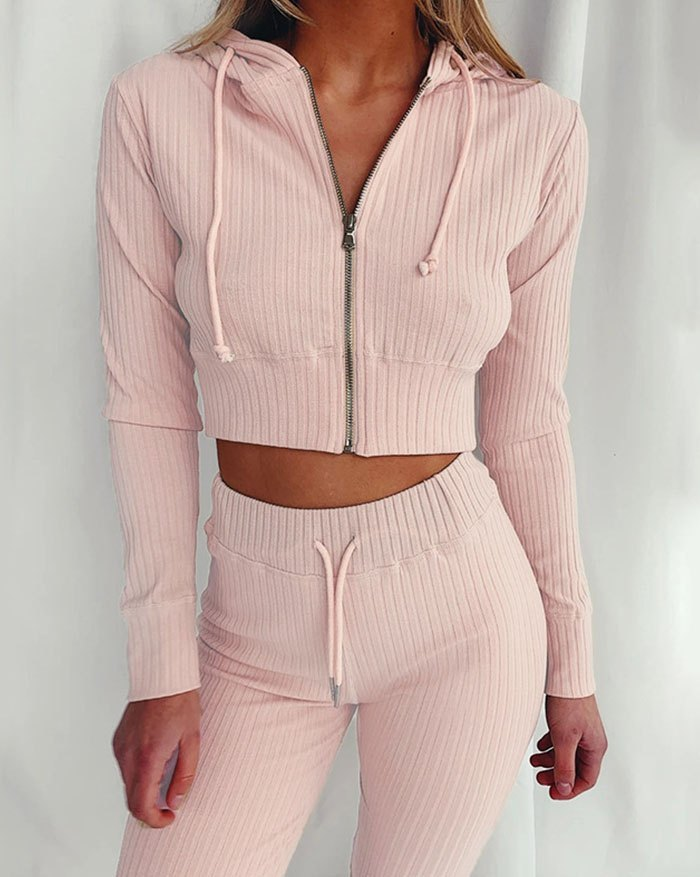Cropprd Knittd Hooded Two-Piece Outfit - Pink XL