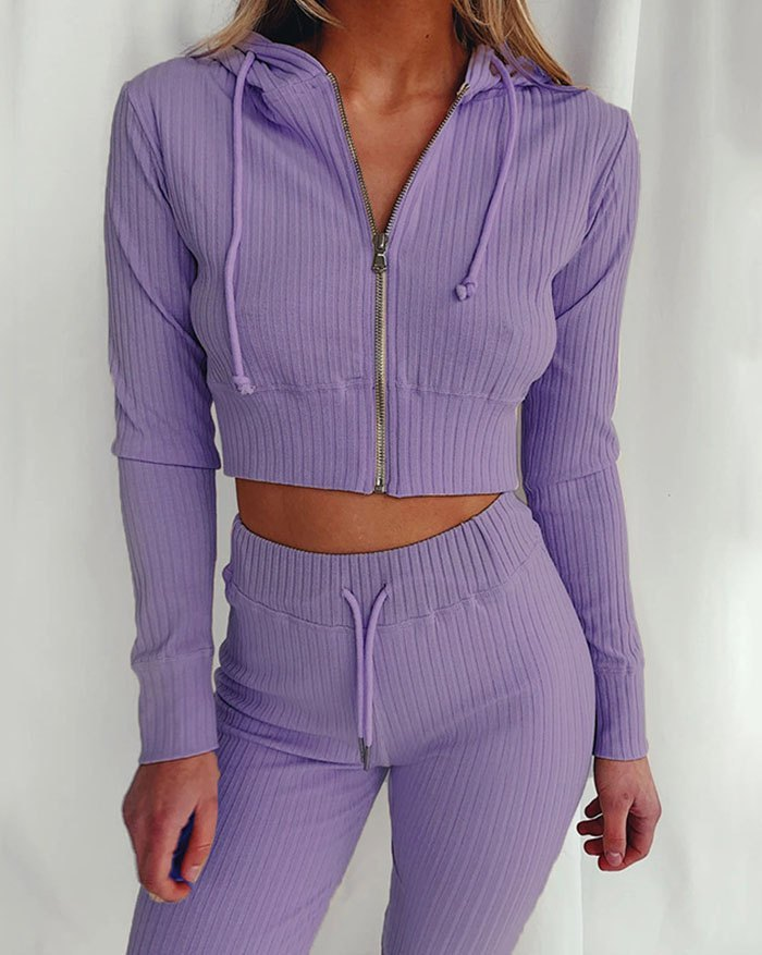 Cropprd Knittd Hooded Two-Piece Outfit - Purple XL