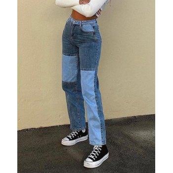 Contrast Patchwork Straight-leg Jeans