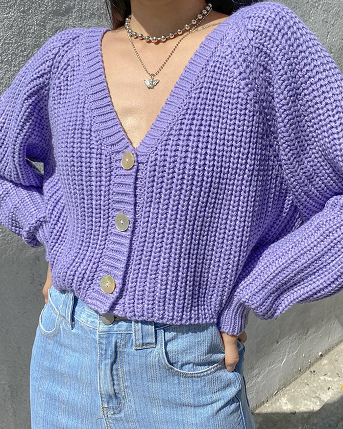 Puff Sleeve Knitted Cardigan - Grape Compote M