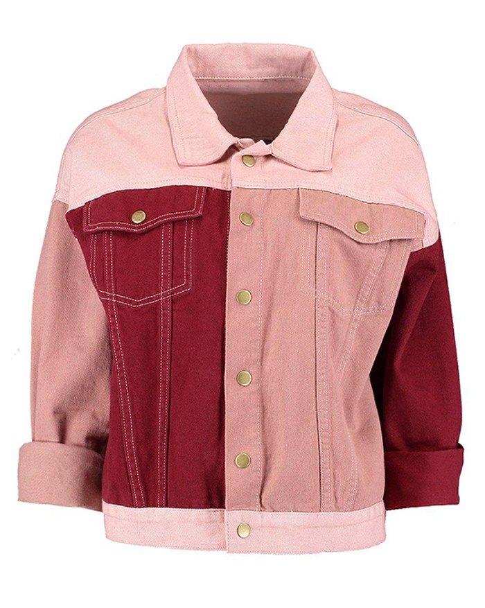 Patchwork Denim Jacket - multicolorple Colors 2XL