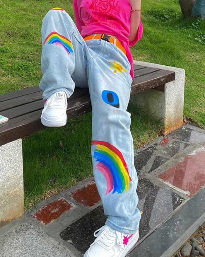 Rainbow Letter Print Jeans - Blue M