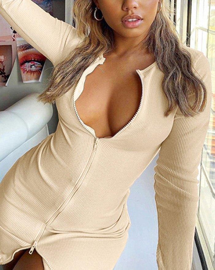 Zipper Bodycon Mini Dress - Apricot L
