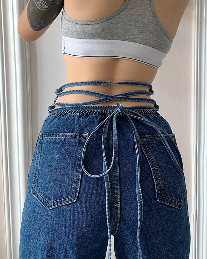 Back Lace-up Straight Jeans - Blue L