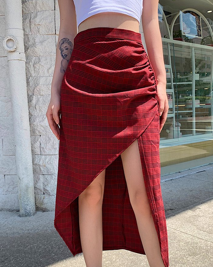 High Waist Irregular Plaid Skirt - Red XL