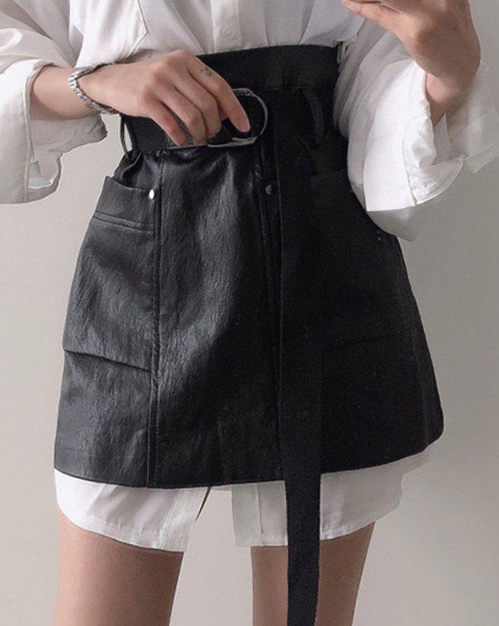High Waist Belted Mini Skirt - Black M