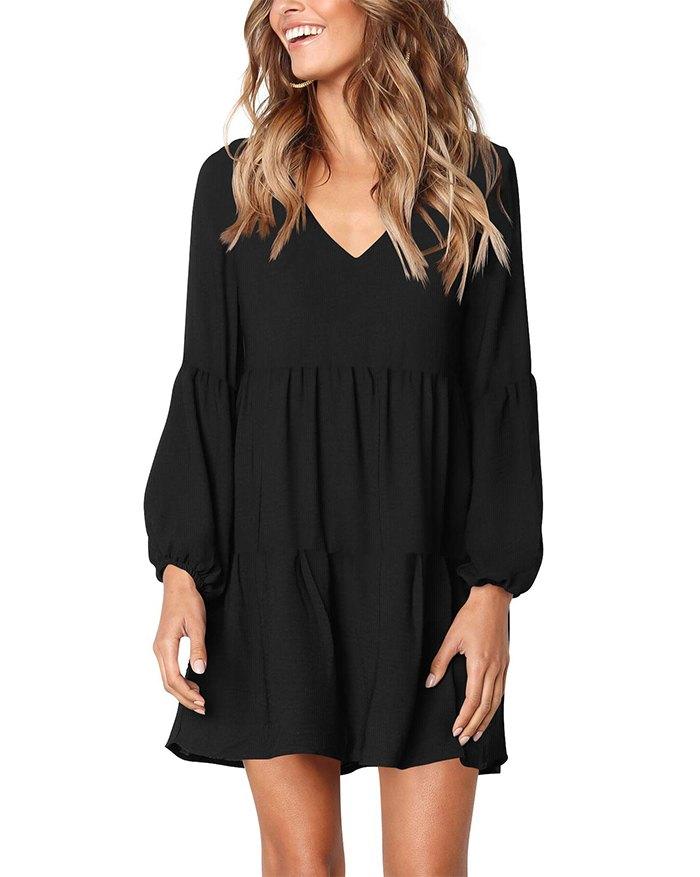 Loose Flowy Swing Shift Mini Dress - Black XL