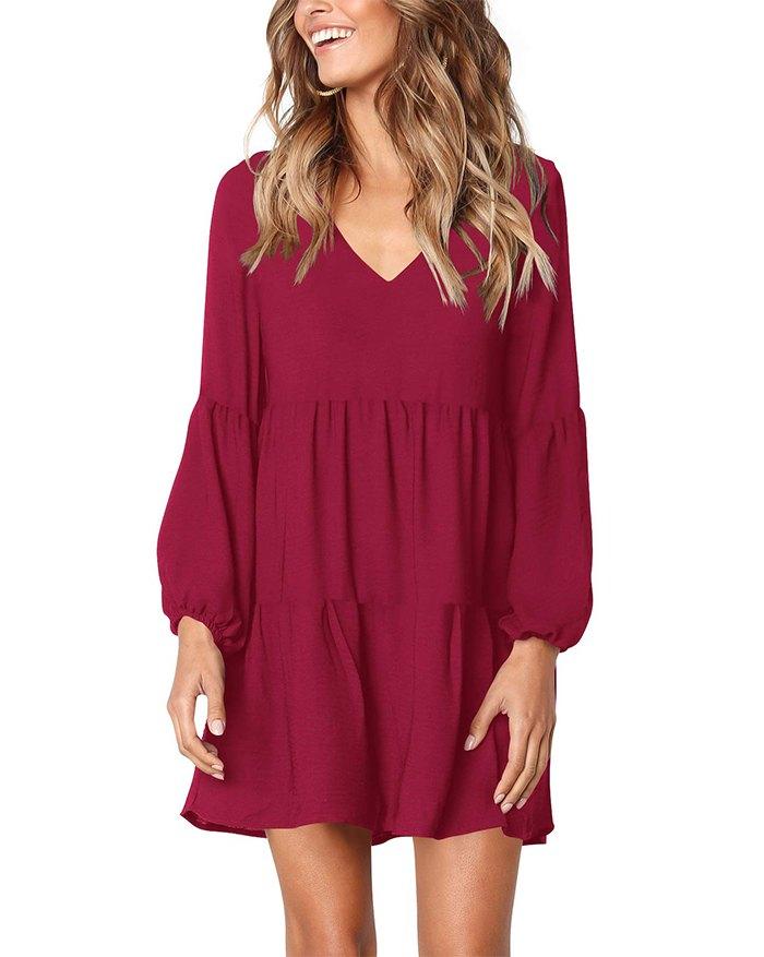 Loose Flowy Swing Shift Mini Dress - Red XL