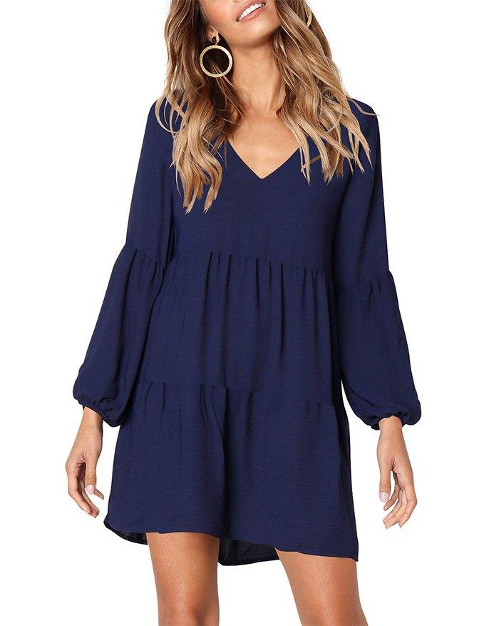 Loose Flowy Swing Shift Mini Dress - Navy Blue XL