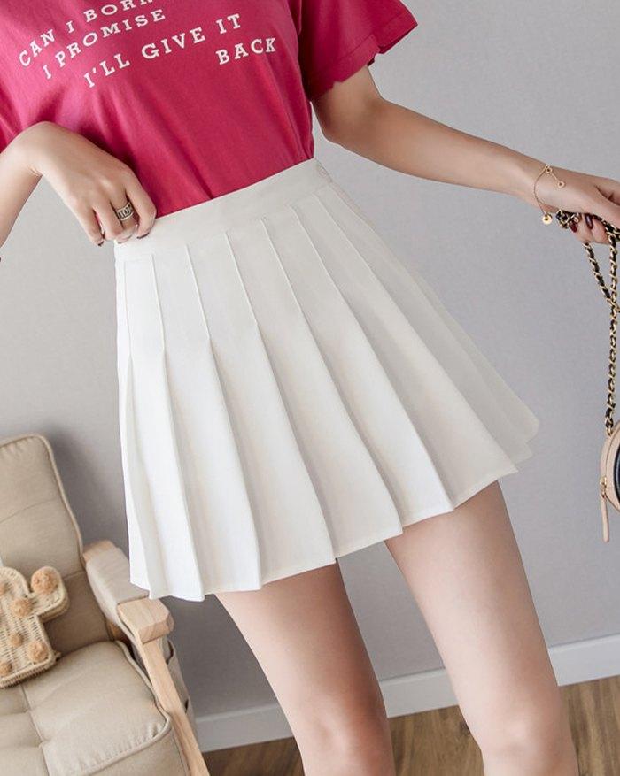 High Waist Pleated Mini Skirt - White XL