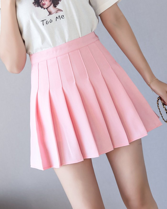 High Waist Pleated Mini Skirt - Pink XL