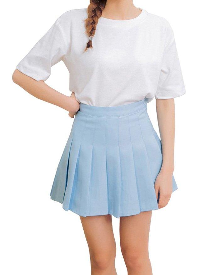 High Waist Pleated Mini Skirt - Blue XL