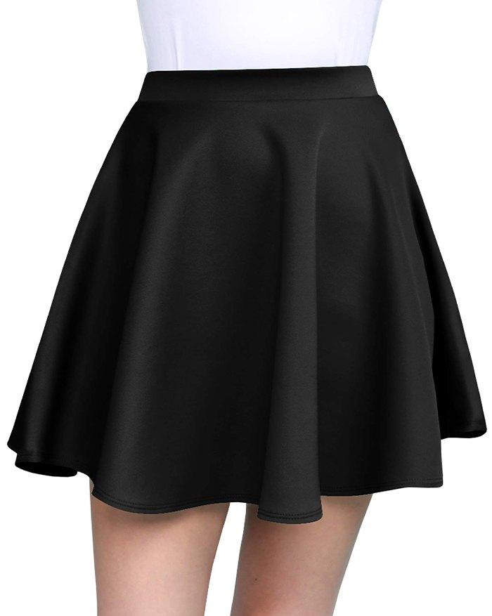 Stretchy Flared Mini Skirt - Black 2XL