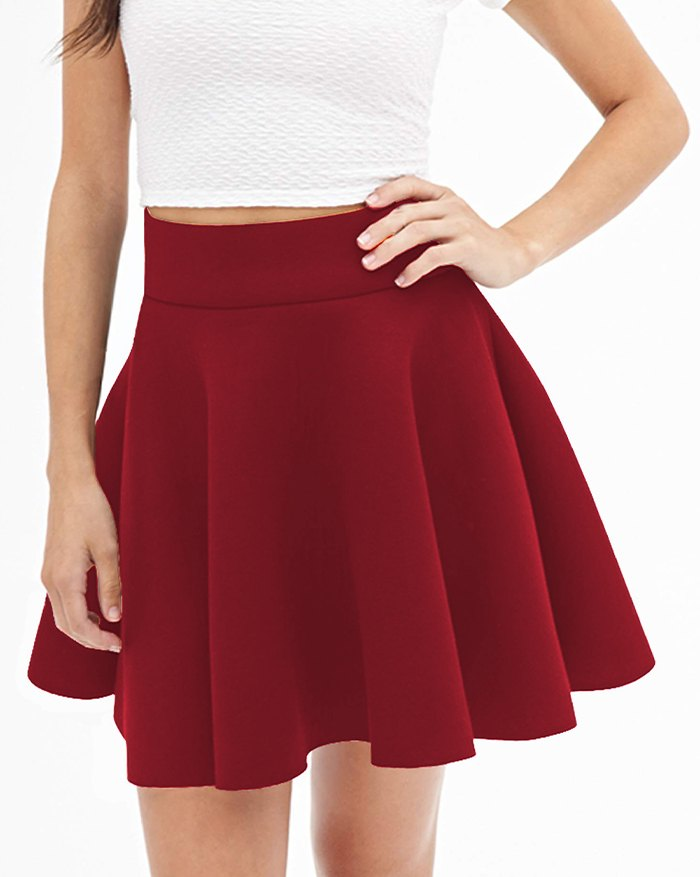 Stretchy Flared Mini Skirt - Red 2XL