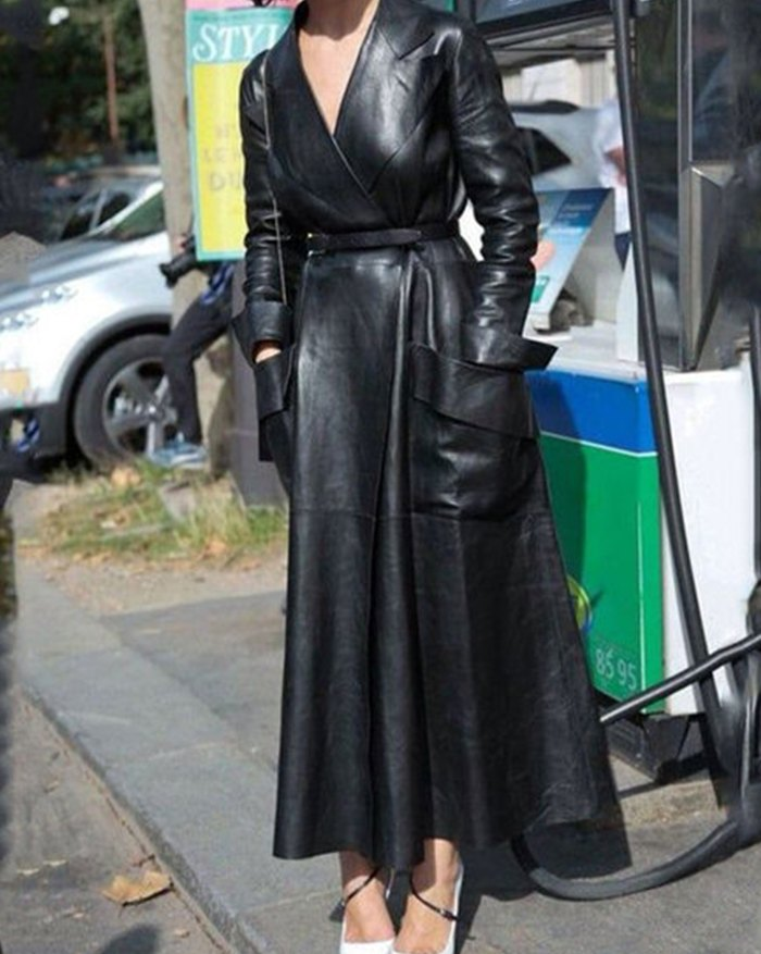 Pu Leather Belted Long Coat - Black 4XL