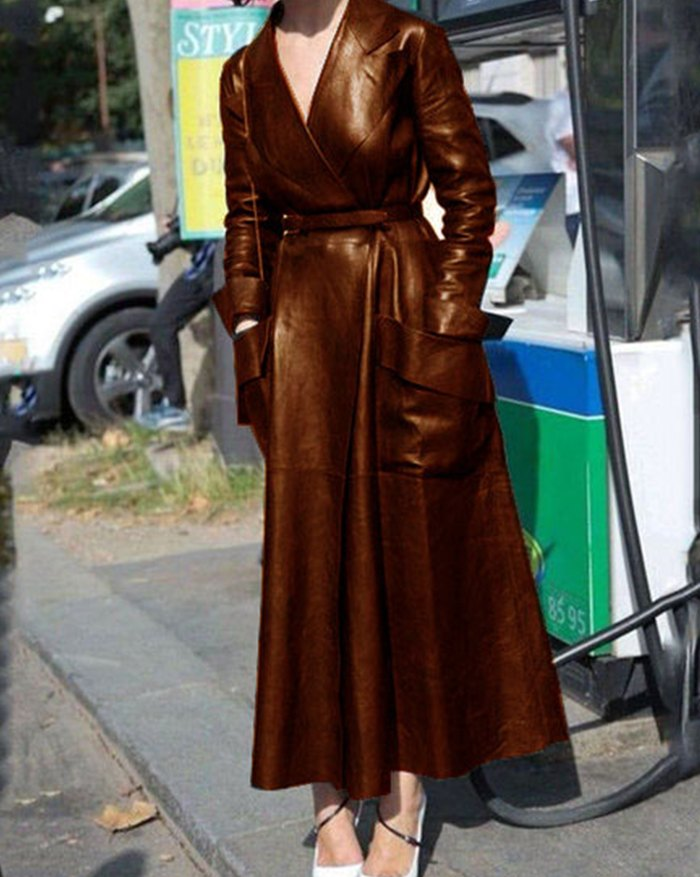 Pu Leather Belted Long Coat - Brown 4XL