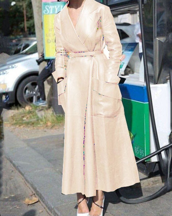 Pu Leather Belted Long Coat - Apricot 4XL