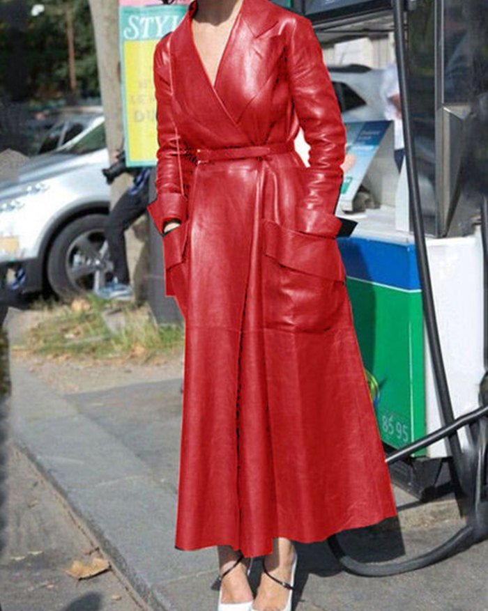Pu Leather Belted Long Coat - Red 4XL