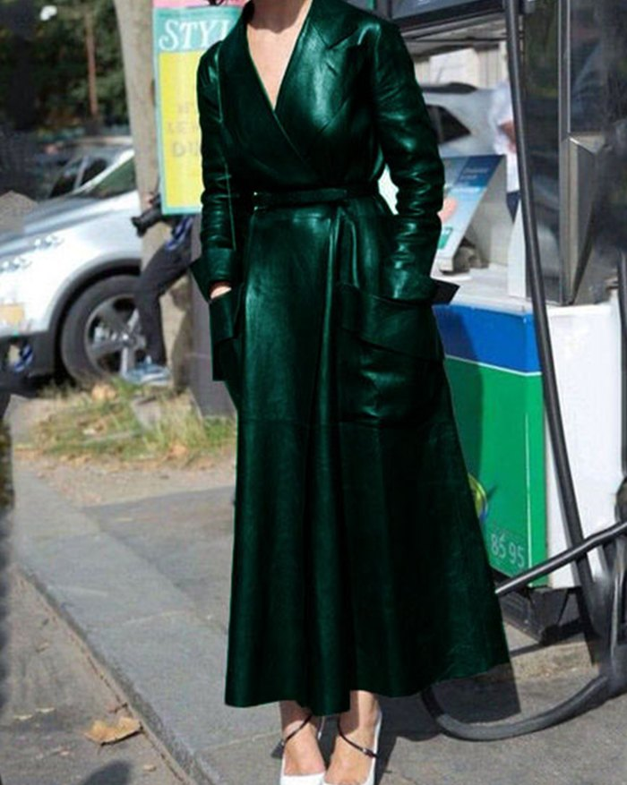 Pu Leather Belted Long Coat - Green 4XL