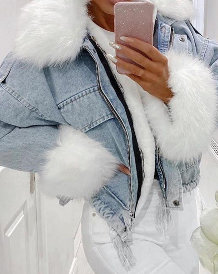 Artificial Fur Trim Denim Jacket - Blue 4XL
