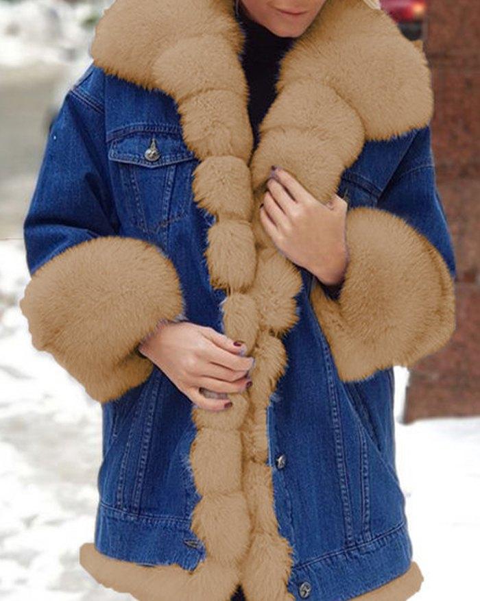 Artificial Fur Trim Denim Long Jacket - Brown 5XL