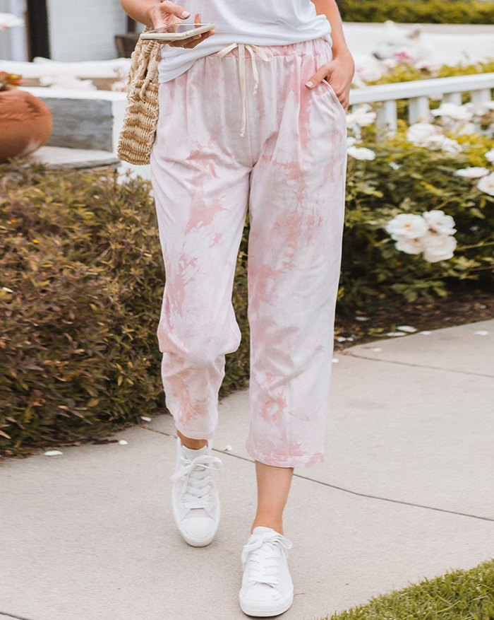 Tie-dye Lace Up Loungewear - Pink XL