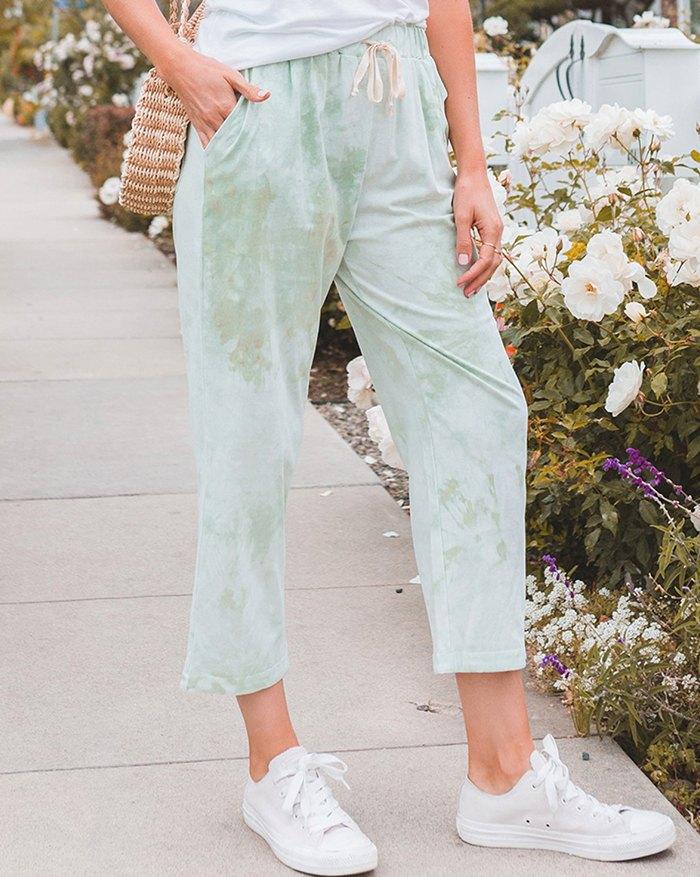 Tie-dye Lace Up Loungewear - Green XL