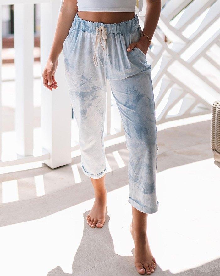 Tie-dye Lace Up Loungewear - Blue XL