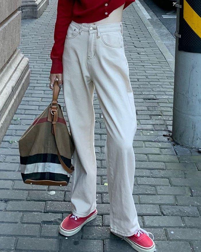 High Waist Straight Jeans - White L