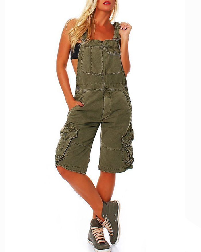 Pocket Overalls Jeans - Green 3XL