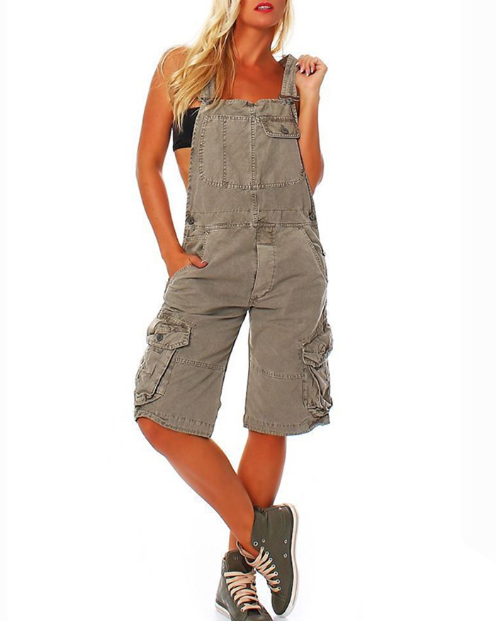 Pocket Overalls Jeans - Gray 3XL