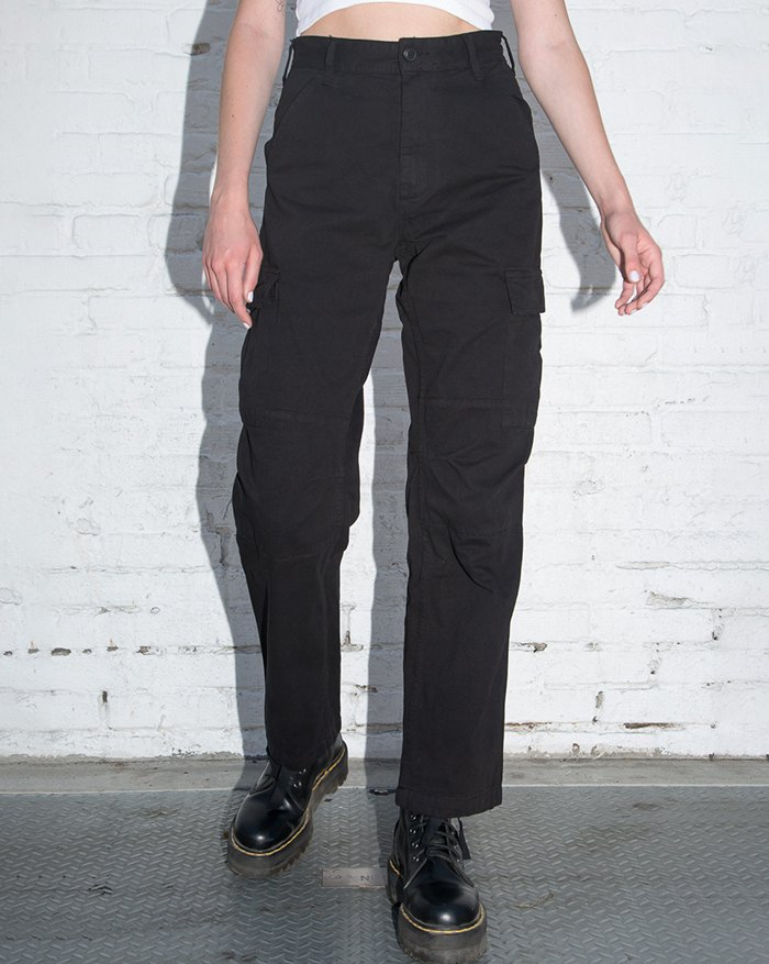 High Waist Straight Cargo Jeans - Black XL