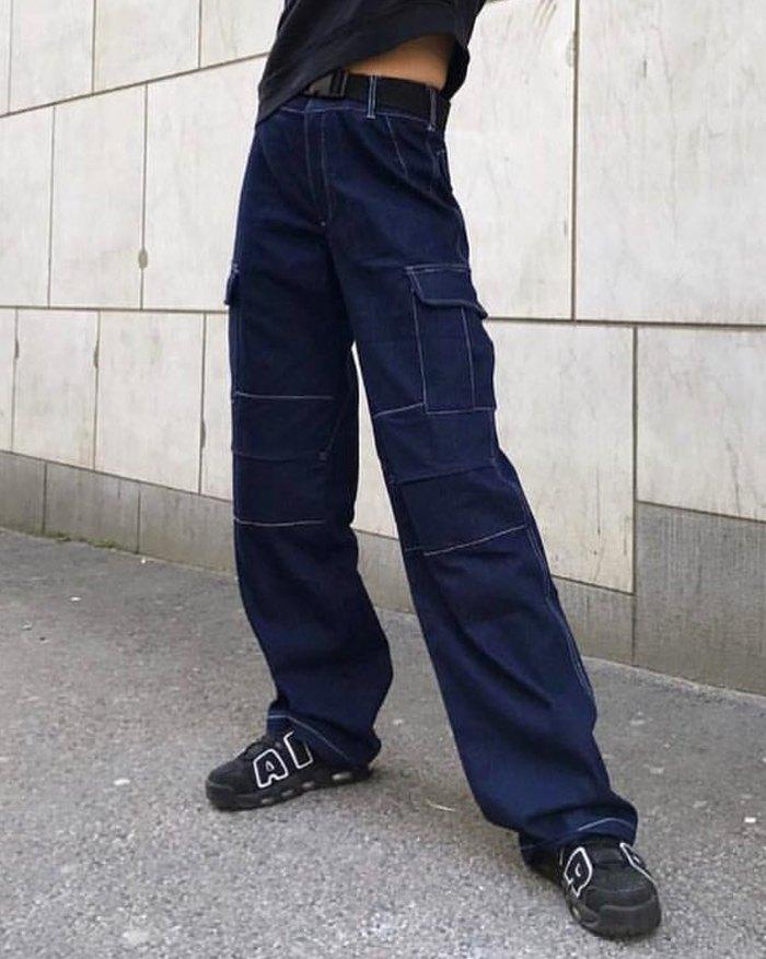 Multi Pocket Straight Jeans - Blue L