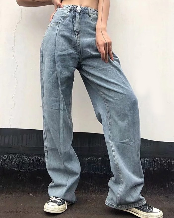 High-rise Mopping Wide-leg Jeans - Blue XL