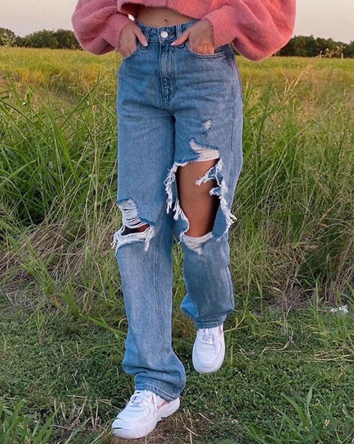 High Waist Ripped Straight Jeans - Blue L
