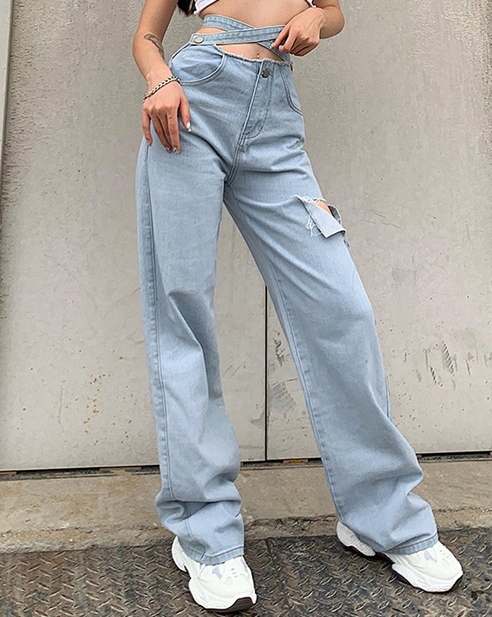 Cross Strap Ripped Straight Jeans - Blue L