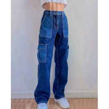 Pocket Stitching Contrast Hip-Hop Jeans