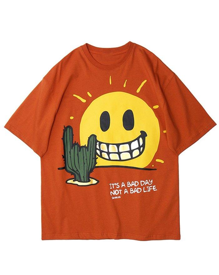 Men's Smiley Face Print Tee - Orange M
