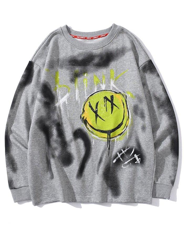 Men's Smile Print Tie-Dye Sweatshirt - Gray XL