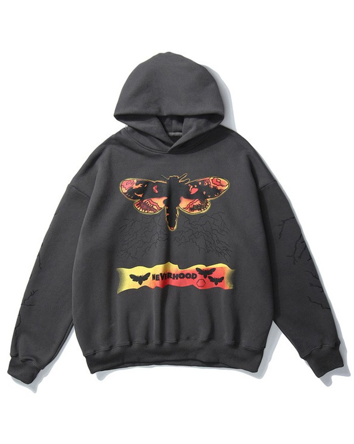 Men's Letter Butterfly Print Hoodie - Dark Gray L