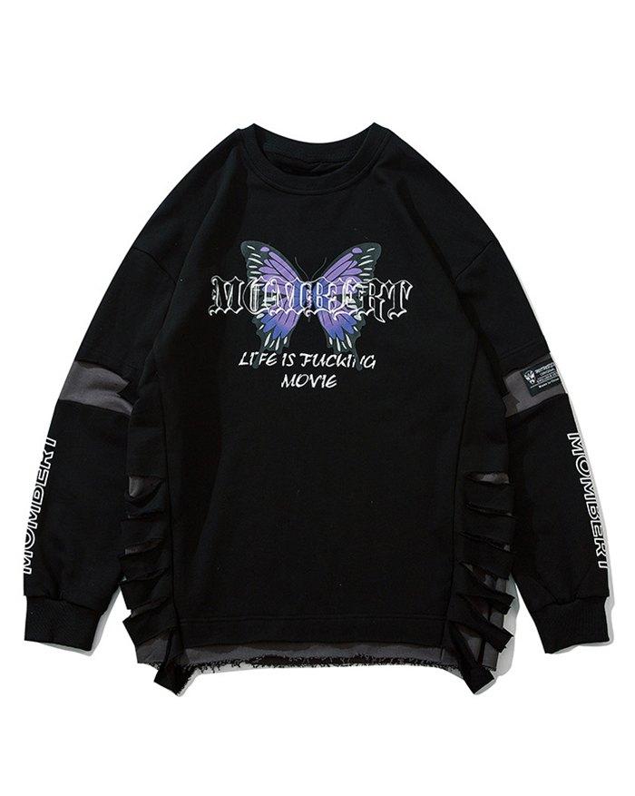 Men's Letter Butterfly Print Sweatshirt - Black XL