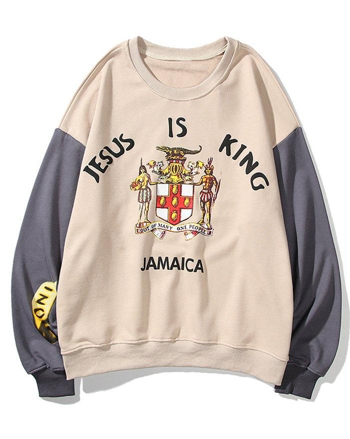 Men's Kanye Print High Street Sweatshirt - Khaki XL