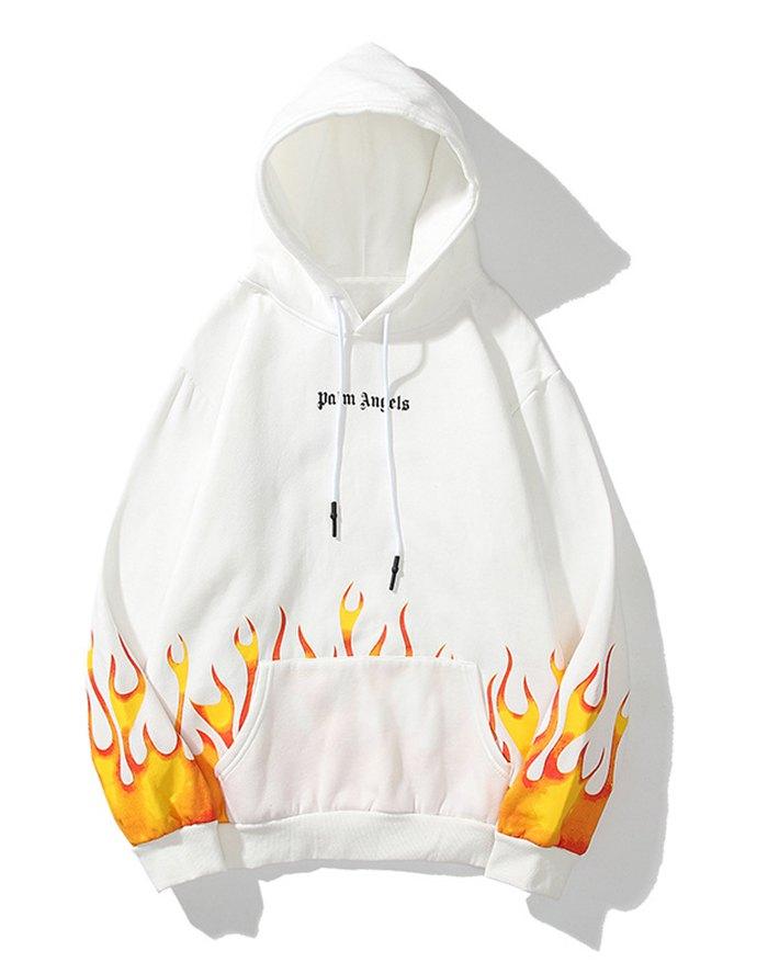 Men's High Street Flame Printed Hoodie - White XL
