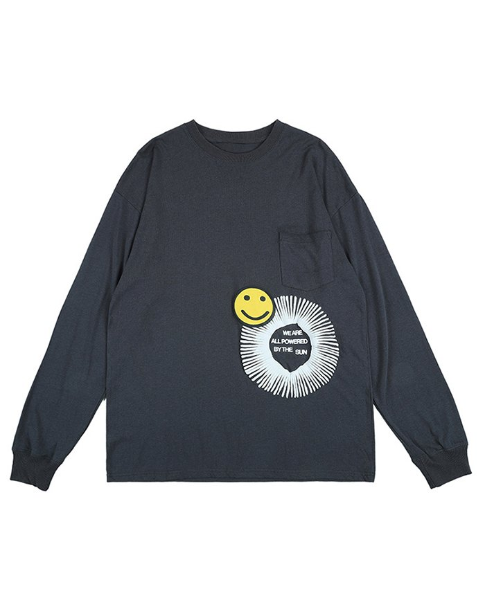 Men's High Street Smile Printed Tee - Dark Gray XL