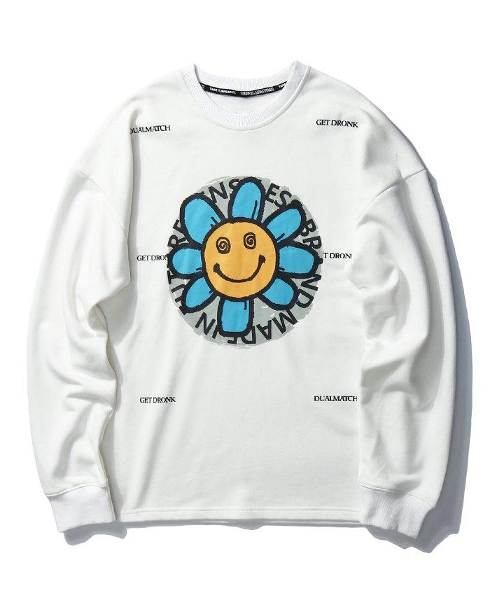 Men's High Street Smile Print Sweatshirt - White XL